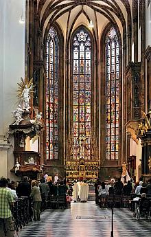 Inside the Cathedral of St. Peter and Paul during worship