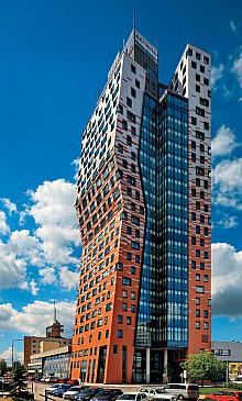 The AZ Tower is built in deconstructivist style