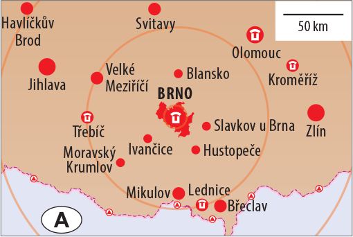 Brno and South Moravia, map